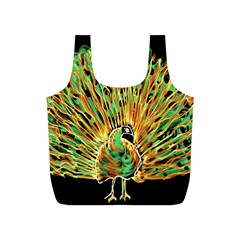 Unusual Peacock Drawn With Flame Lines Full Print Recycle Bags (s)