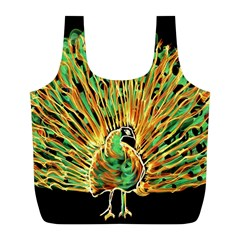 Unusual Peacock Drawn With Flame Lines Full Print Recycle Bags (l)  by BangZart