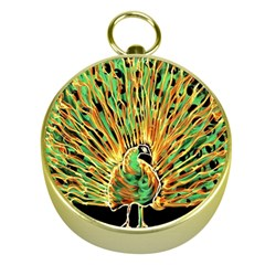 Unusual Peacock Drawn With Flame Lines Gold Compasses