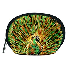 Unusual Peacock Drawn With Flame Lines Accessory Pouches (medium)