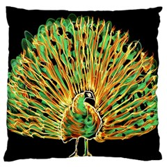 Unusual Peacock Drawn With Flame Lines Large Flano Cushion Case (two Sides)