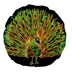 Unusual Peacock Drawn With Flame Lines Large 18  Premium Flano Round Cushions by BangZart