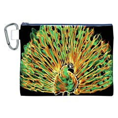 Unusual Peacock Drawn With Flame Lines Canvas Cosmetic Bag (xxl) by BangZart