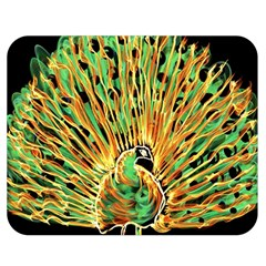 Unusual Peacock Drawn With Flame Lines Double Sided Flano Blanket (medium)  by BangZart