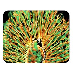 Unusual Peacock Drawn With Flame Lines Double Sided Flano Blanket (large)  by BangZart
