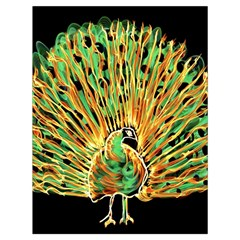 Unusual Peacock Drawn With Flame Lines Drawstring Bag (large) by BangZart
