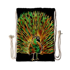 Unusual Peacock Drawn With Flame Lines Drawstring Bag (small) by BangZart