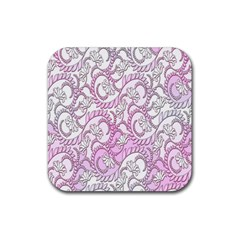 Floral Pattern Background Rubber Square Coaster (4 Pack)  by BangZart