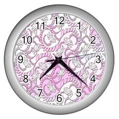 Floral Pattern Background Wall Clocks (silver)  by BangZart