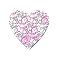 Floral Pattern Background Heart Magnet