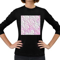 Floral Pattern Background Women s Long Sleeve Dark T Shirts