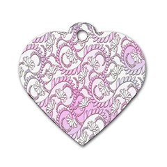 Floral Pattern Background Dog Tag Heart (two Sides) by BangZart