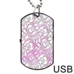 Floral Pattern Background Dog Tag Usb Flash (one Side) by BangZart