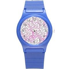 Floral Pattern Background Round Plastic Sport Watch (s)