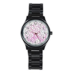 Floral Pattern Background Stainless Steel Round Watch by BangZart