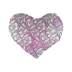 Floral Pattern Background Standard 16  Premium Flano Heart Shape Cushions by BangZart
