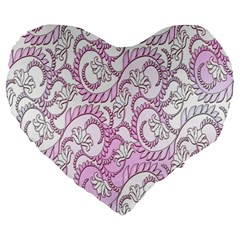 Floral Pattern Background Large 19  Premium Flano Heart Shape Cushions by BangZart