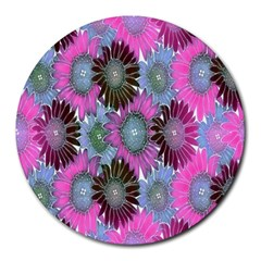 Floral Pattern Background Round Mousepads by BangZart