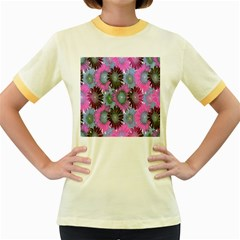 Floral Pattern Background Women s Fitted Ringer T Shirts