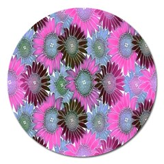 Floral Pattern Background Magnet 5  (round) by BangZart