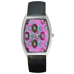 Floral Pattern Background Barrel Style Metal Watch by BangZart