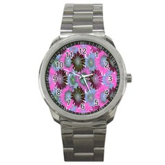 Floral Pattern Background Sport Metal Watch by BangZart