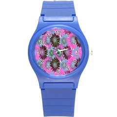 Floral Pattern Background Round Plastic Sport Watch (s) by BangZart