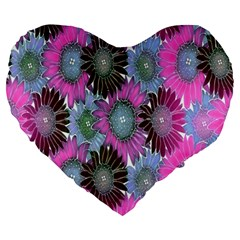 Floral Pattern Background Large 19  Premium Heart Shape Cushions by BangZart