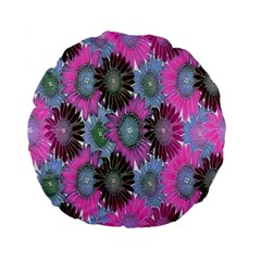 Floral Pattern Background Standard 15  Premium Flano Round Cushions