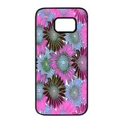 Floral Pattern Background Samsung Galaxy S7 Edge Black Seamless Case