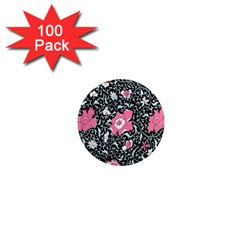 Oriental Style Floral Pattern Background Wallpaper 1  Mini Magnets (100 Pack)