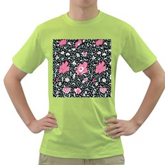 Oriental Style Floral Pattern Background Wallpaper Green T Shirt