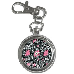 Oriental Style Floral Pattern Background Wallpaper Key Chain Watches