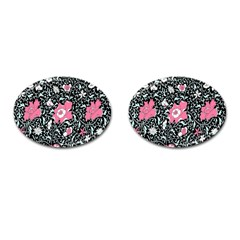 Oriental Style Floral Pattern Background Wallpaper Cufflinks (oval)