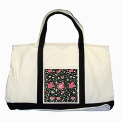 Oriental Style Floral Pattern Background Wallpaper Two Tone Tote Bag by BangZart