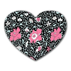 Oriental Style Floral Pattern Background Wallpaper Heart Mousepads