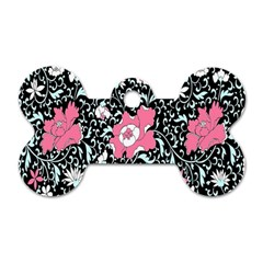 Oriental Style Floral Pattern Background Wallpaper Dog Tag Bone (two Sides) by BangZart