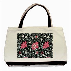 Oriental Style Floral Pattern Background Wallpaper Basic Tote Bag (two Sides) by BangZart