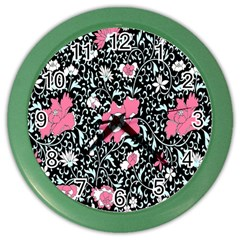 Oriental Style Floral Pattern Background Wallpaper Color Wall Clocks