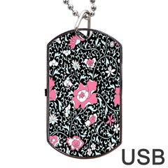 Oriental Style Floral Pattern Background Wallpaper Dog Tag Usb Flash (two Sides) by BangZart