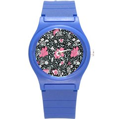 Oriental Style Floral Pattern Background Wallpaper Round Plastic Sport Watch (s) by BangZart