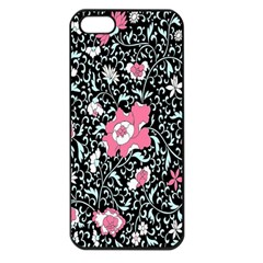 Oriental Style Floral Pattern Background Wallpaper Apple Iphone 5 Seamless Case (black) by BangZart