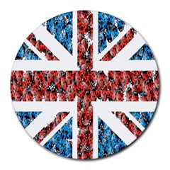 Fun And Unique Illustration Of The Uk Union Jack Flag Made Up Of Cartoon Ladybugs Round Mousepads by BangZart