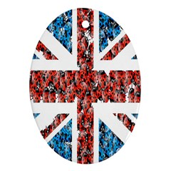 Fun And Unique Illustration Of The Uk Union Jack Flag Made Up Of Cartoon Ladybugs Ornament (oval)