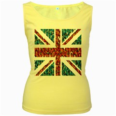 Fun And Unique Illustration Of The Uk Union Jack Flag Made Up Of Cartoon Ladybugs Women s Yellow Tank Top