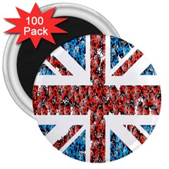 Fun And Unique Illustration Of The Uk Union Jack Flag Made Up Of Cartoon Ladybugs 3  Magnets (100 Pack)