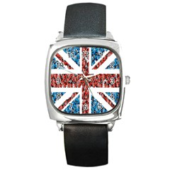 Fun And Unique Illustration Of The Uk Union Jack Flag Made Up Of Cartoon Ladybugs Square Metal Watch