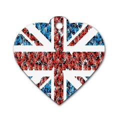 Fun And Unique Illustration Of The Uk Union Jack Flag Made Up Of Cartoon Ladybugs Dog Tag Heart (one Side) by BangZart