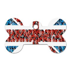 Fun And Unique Illustration Of The Uk Union Jack Flag Made Up Of Cartoon Ladybugs Dog Tag Bone (two Sides) by BangZart