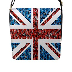 Fun And Unique Illustration Of The Uk Union Jack Flag Made Up Of Cartoon Ladybugs Flap Messenger Bag (l)  by BangZart